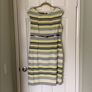 Calvin Klein Yellow Grey and White Striped Dress